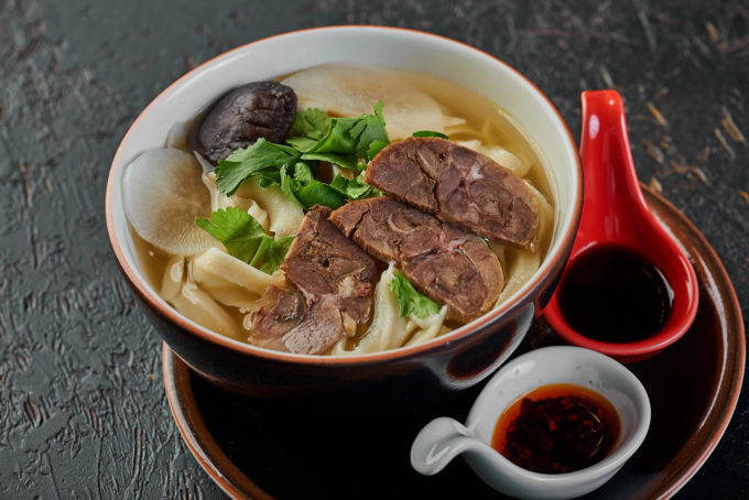 Home-made wide noodles with beef in broth 600₽