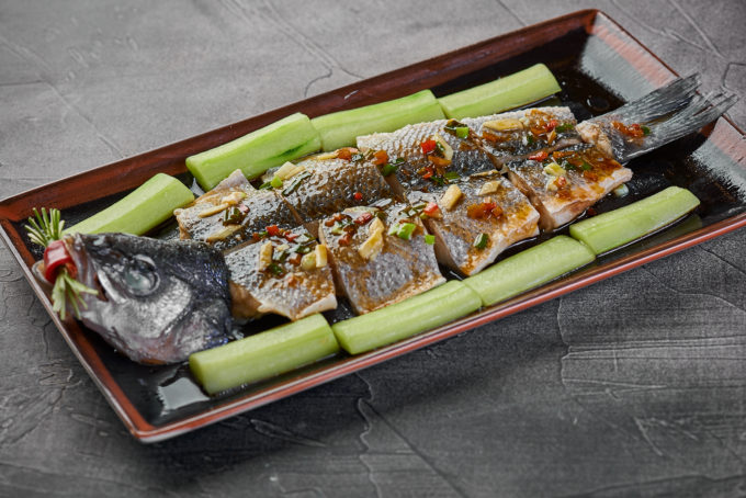 Steamed sea bass with fresh cucumbers and soy sauce 1600₽